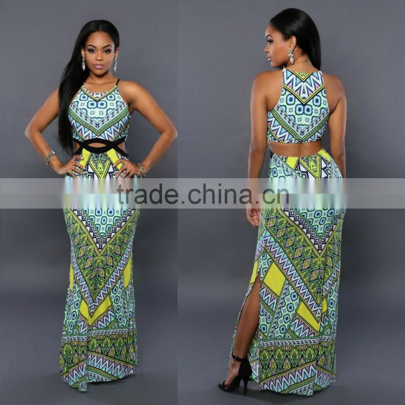 2017 Ladies Fashion Sexy Bandage Dresses Sleeveless Digital Printed Connect Dress Skirts Women Modern African Dress Style