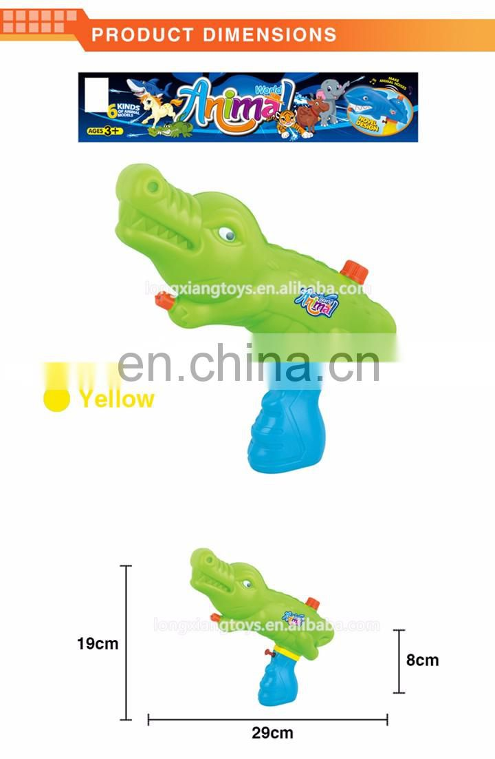 Hot selling summer toys green and yellow plastic children's crocodile water gun with certificates