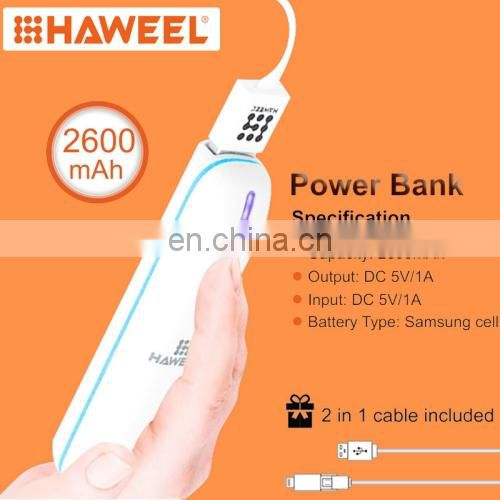 HAWEEL 2600mAh Dual USB Power Bank with Micro USB 2 in 1 Charging Cable(Orange)