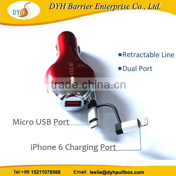 High-speed usb port car chargers mini dual retractable usb car charger for iphone