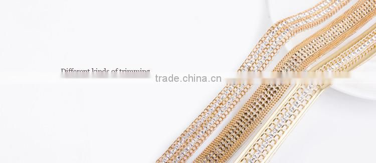 Hot Fix Crystal Fancy Stone Chain Trimming For Dresses Used Brass Cup Chain