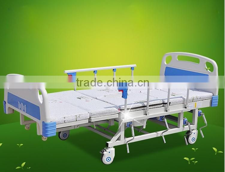 hospital nursing bed with ABS headboard nursing bed,disable nursing bed with badpan, drip stand thick