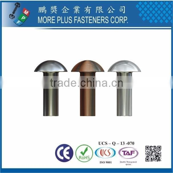 Taiwan Stainless steel 18-8 Chrome plated steel Nickel plated steel Copper Brass DIN6791 DIN660 Semi-Tubular and Solid Rivet