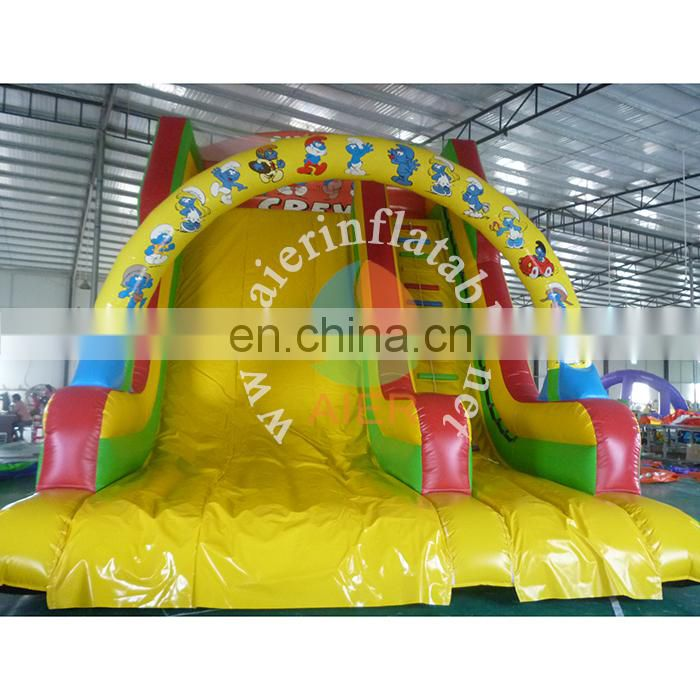 Latest inflatable slide adult outdoor dry slide smurfs printing inflatable dry slide for wholesale price