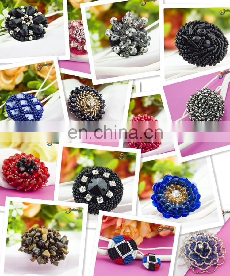 Black color handmade accessories beaded decorative short sleeve button up shirts