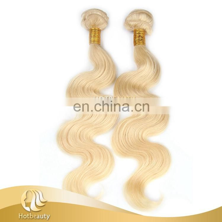 Wholesales Russian human hair body wave 6A grade blonde hair No synthetic hair mixed