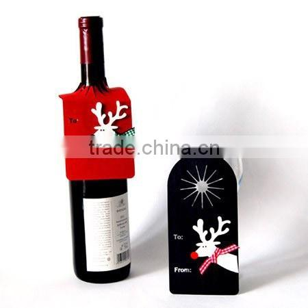 HOT NEW deer design wine bottle neck paper hang tag for wedding,christmas party winr devoration printed paper hang tags