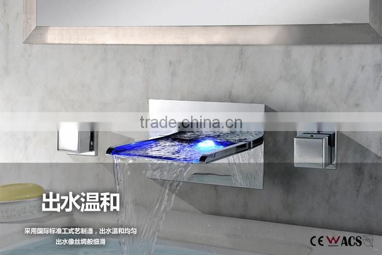 LED waterfall bathroom waterfall LED widespread basin faucet