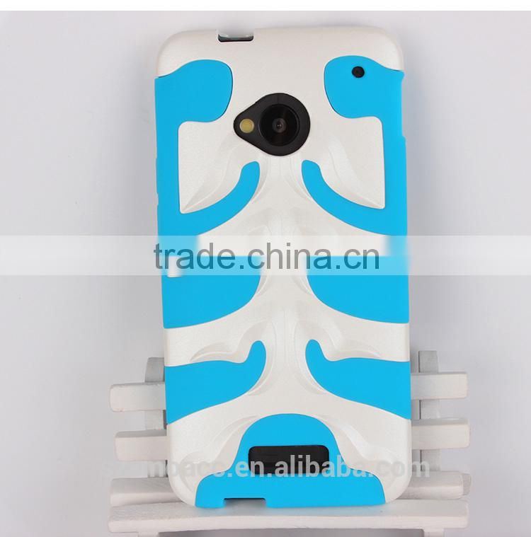 fishbone style 2 in 1 pc silicone case for htc one m7