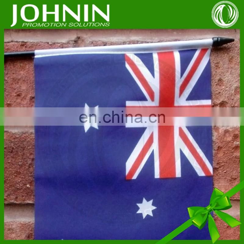 cheap polyester printed promotional hand waving australian flag fabric