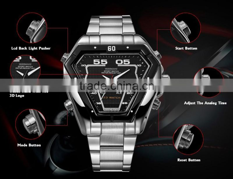 2015 MIDDLELAND Luxury Brand Watch Men Fashion Watch Quartz Wristwatch Full Steel quartz brand watch