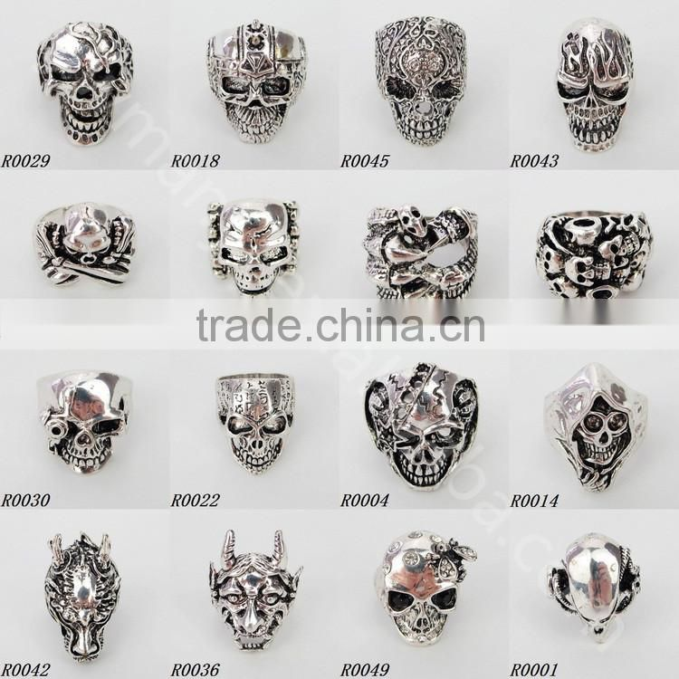Factory price alibaba best sellers mixed jewelry cheap aggressive skull ring R12