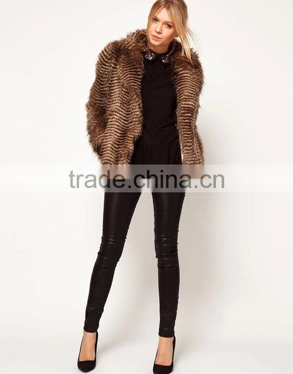 Brand 2015 Winter Women Long Turn-Down Collar Striped Faux Mink Fur Coats Plus Size Ladies Fur Coat Trench Outerwear