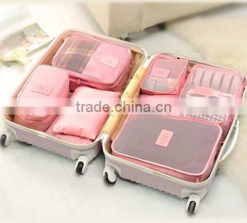 Waterproof Polyester 6pcs/set Double Zipper Luggage Travel Bags
