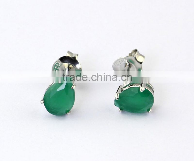 wholesale semi joias brincos rhodium plated emerald zirconia pear stud earrings