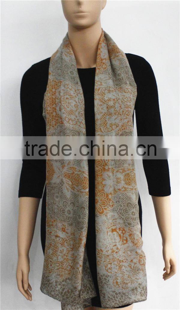 100%Acrylic Floral Printed big scarf shawl in stock