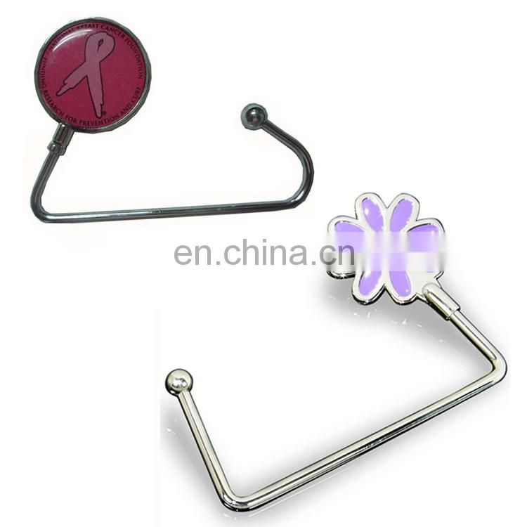 Custom Flower logo Bag Hanger, purse hanger Decoration with offste printing patch