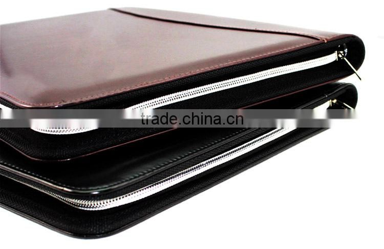 Debossed Executive A5 Zip Notebook Faux Leather Portfolio,2015 hot new custom design Portfolio