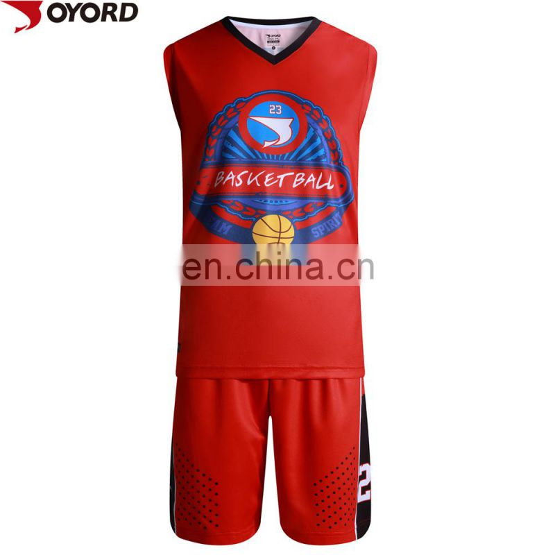 2017 new design logo 100% Polyester quick dry international basketball jersey