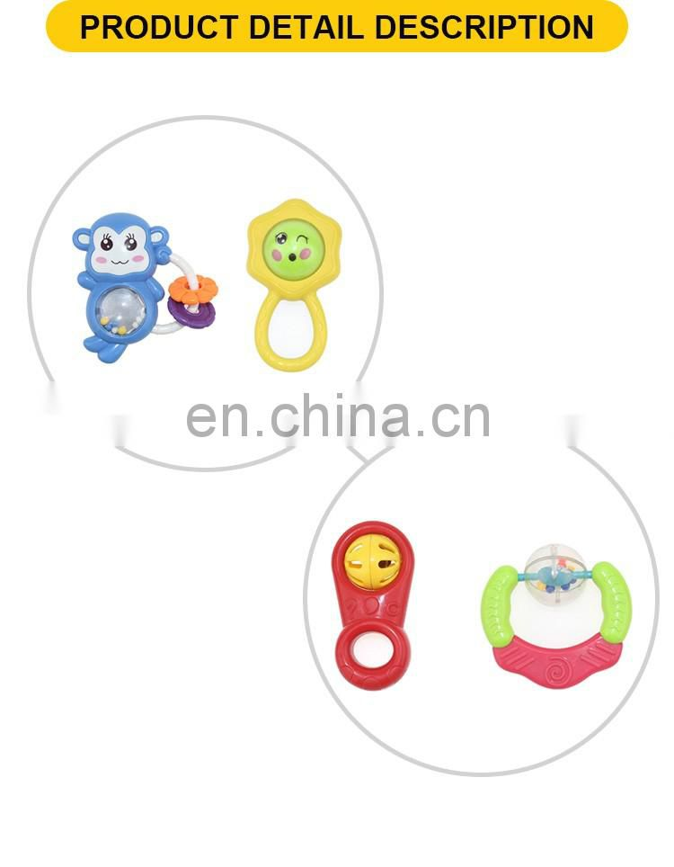 New design baby cartoon rattle & musical toys plastic tambourine(4pcs)