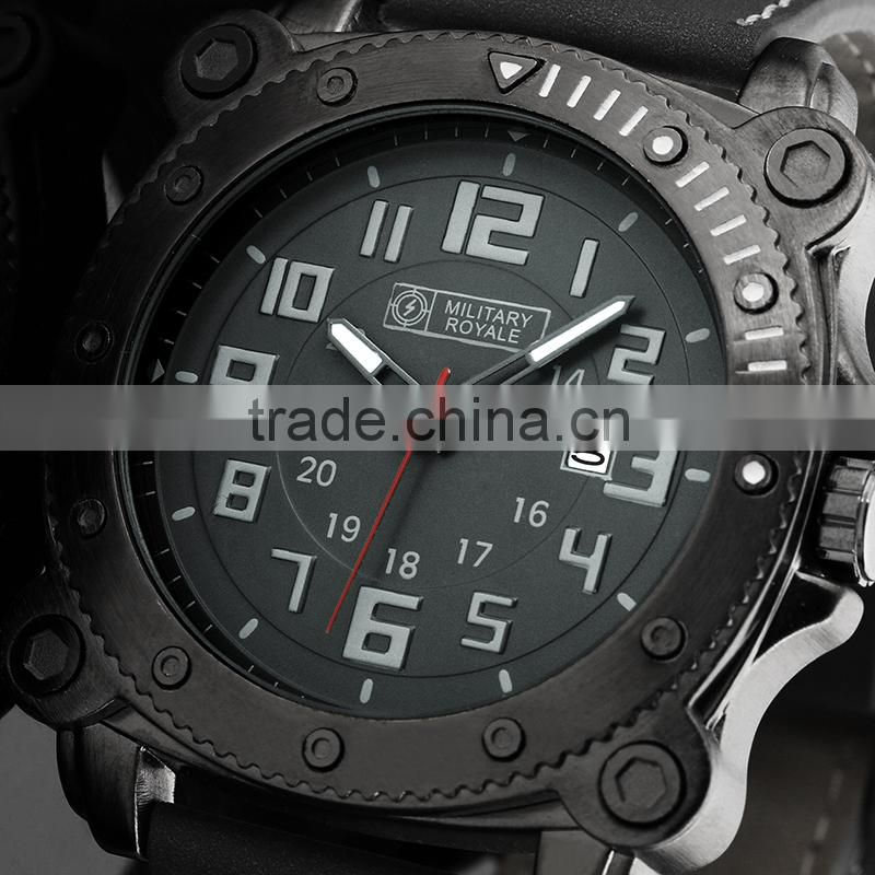 MR081Japan Movt Watch Stainless Steel Black Military Style Military Watch