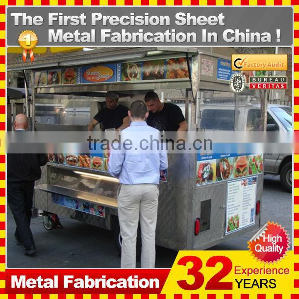 customized made stainless steel street mobile food cart for sale
