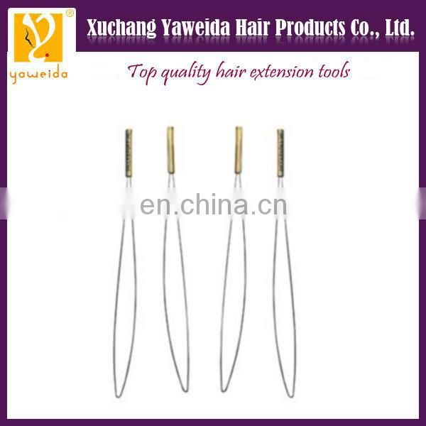 Wholesale price hot sales wooden handle hook pulling needle. hair extension tools
