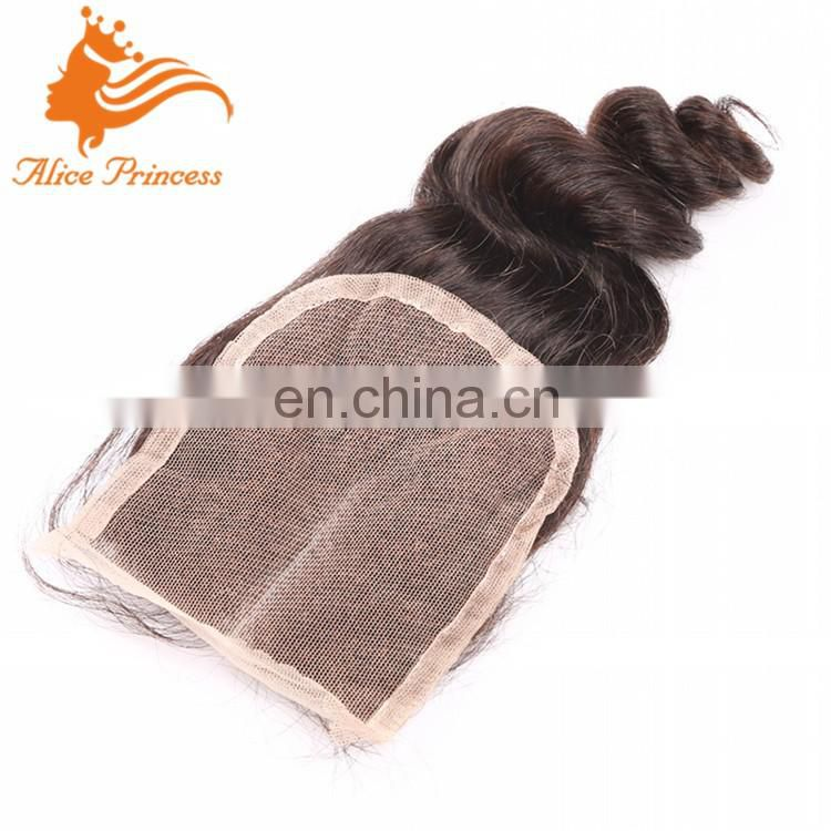 7A Brazilian Hair Closure Top Lace Closure Candy Curly Free/middle/3 Side Part Bleached Knots Human Virgin Hair Closure