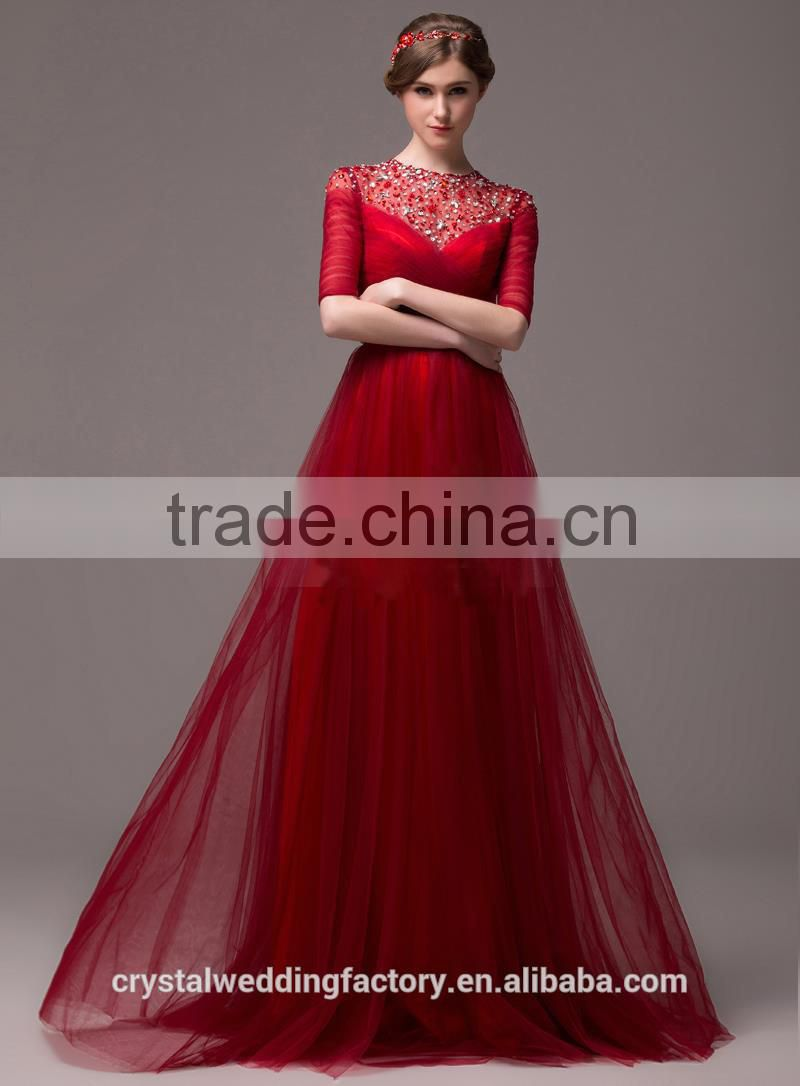 Alibaba Elegant Long New Designer Short Sleeve Red Color Tulle Beach Evening Dresses Or Bridesmaid Dress LE27