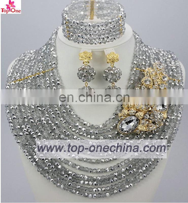 2016Wedding jewelry set silver color African bead necklace for bridalHandmade jewelry for lady