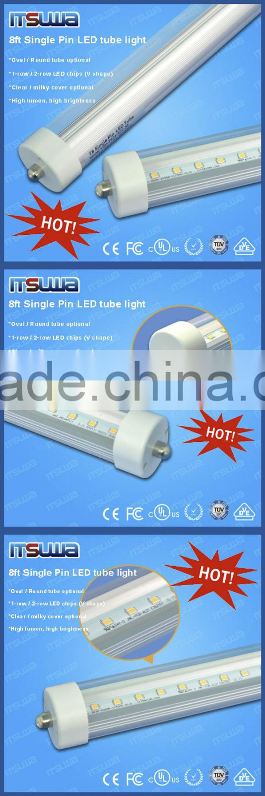 6063 Aluminium Led Lamp Housing Pc Cover 8foot Tube With Single Light Circuit Epistar Chips T8 China Pin