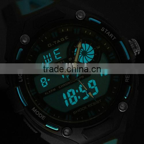 Men's Blue Rubber Digital Analog Dual Dial Ultra Light Sport Watch WS066