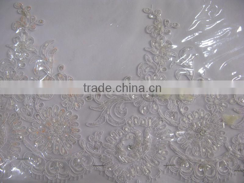new design white lace border girl dress for wedding /dubai lace/pearl beads embroidery white lace fabrics/Trimming Product Type
