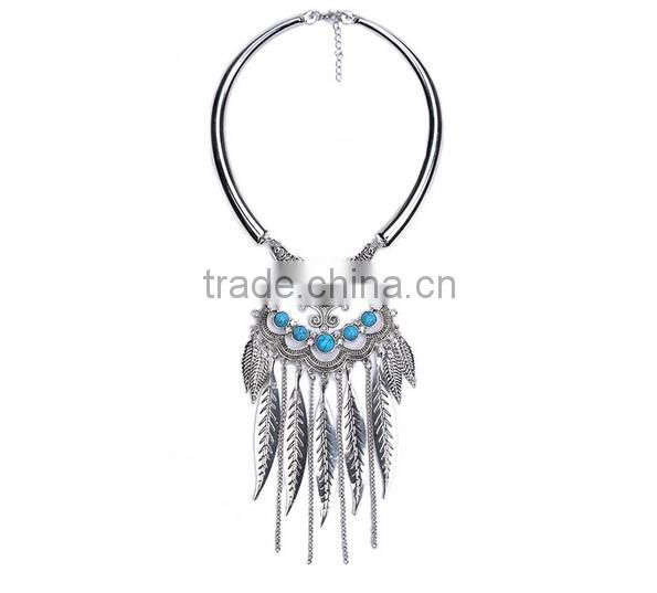 Hot Gypsy Ethnic Tribal Turkish Boho Leaves Tassels Exaggerate Necklace