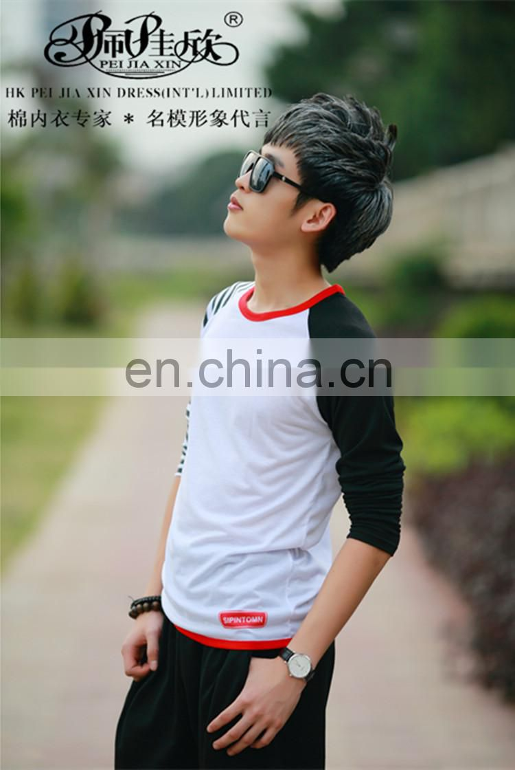 Peijiaxin Fashion Design Long Sleeve Two Color T shirt