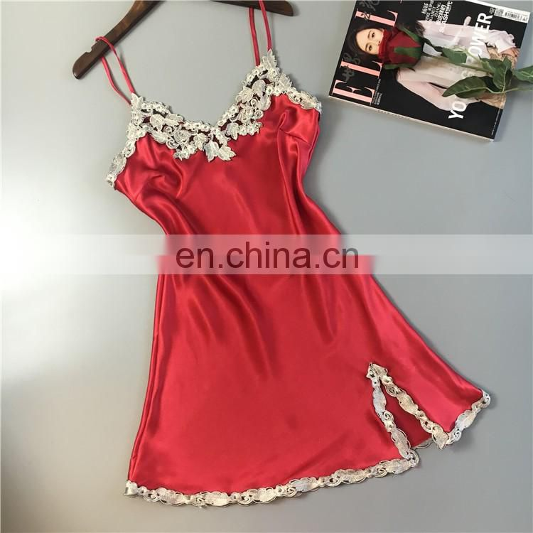 Summer Nightgown Women Fashion Temptation Sexy Silk Nightdress Ladies Sling Satin Sexy Lingerie Sleepwear Bedgown