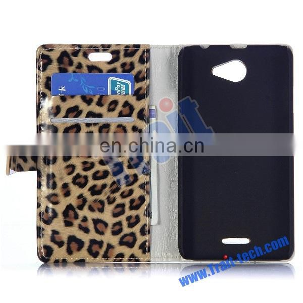 Fashion Leopard Pattern Wallet Style Magnetic Stand Flip Leather Case for HTC Desire 516 with Card Slot