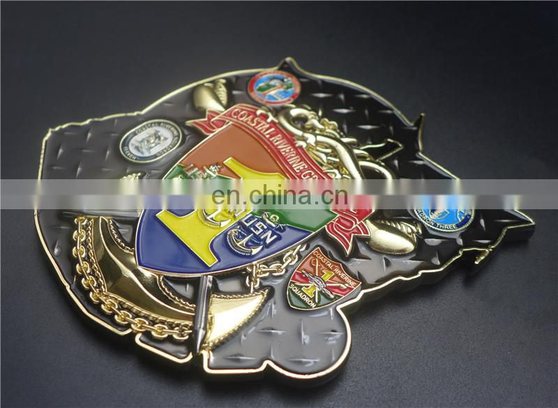 Top sell antique gold wholesale chrome motorcycle emblem glowing emblem