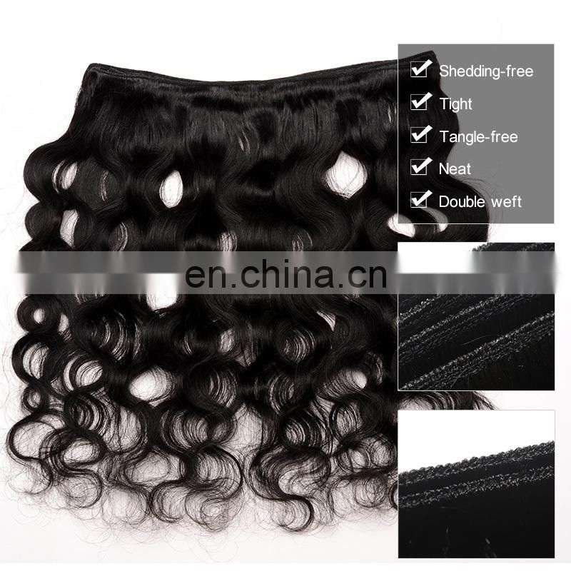 Hair extension body wave remy human hair double weft