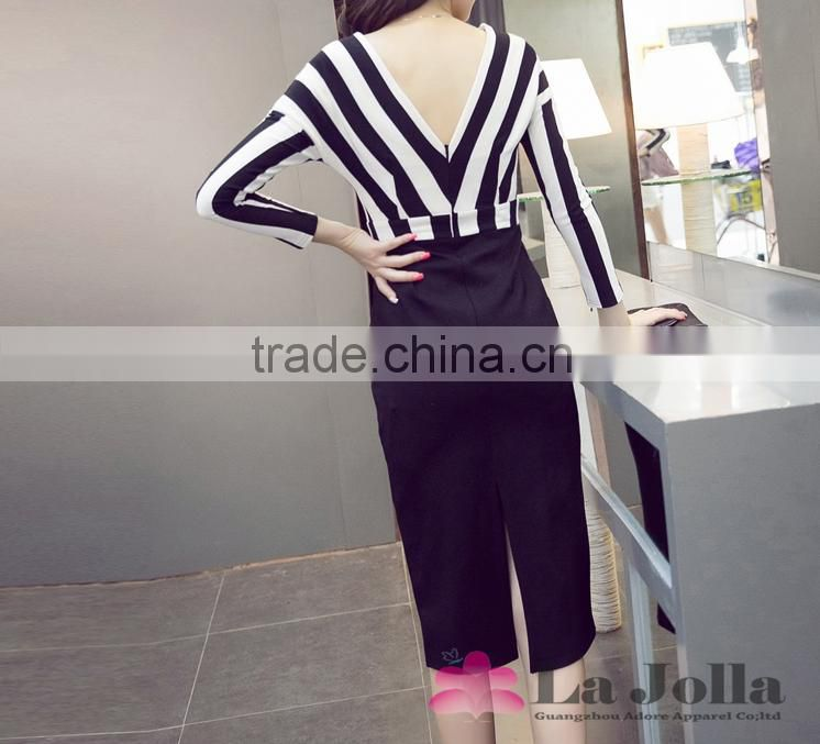 High Quality Ladies elegant formal sample skirt white and black stripy suits for office women V-neck backless western wear