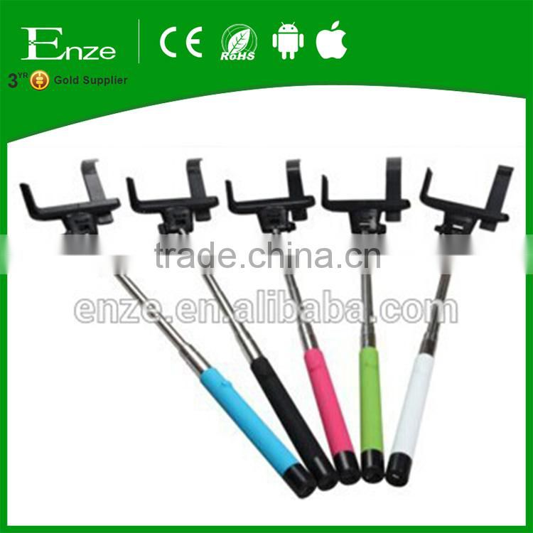 Colorful go pro foldable monopod selfie stick with bluetooth remote for iOS/Android system
