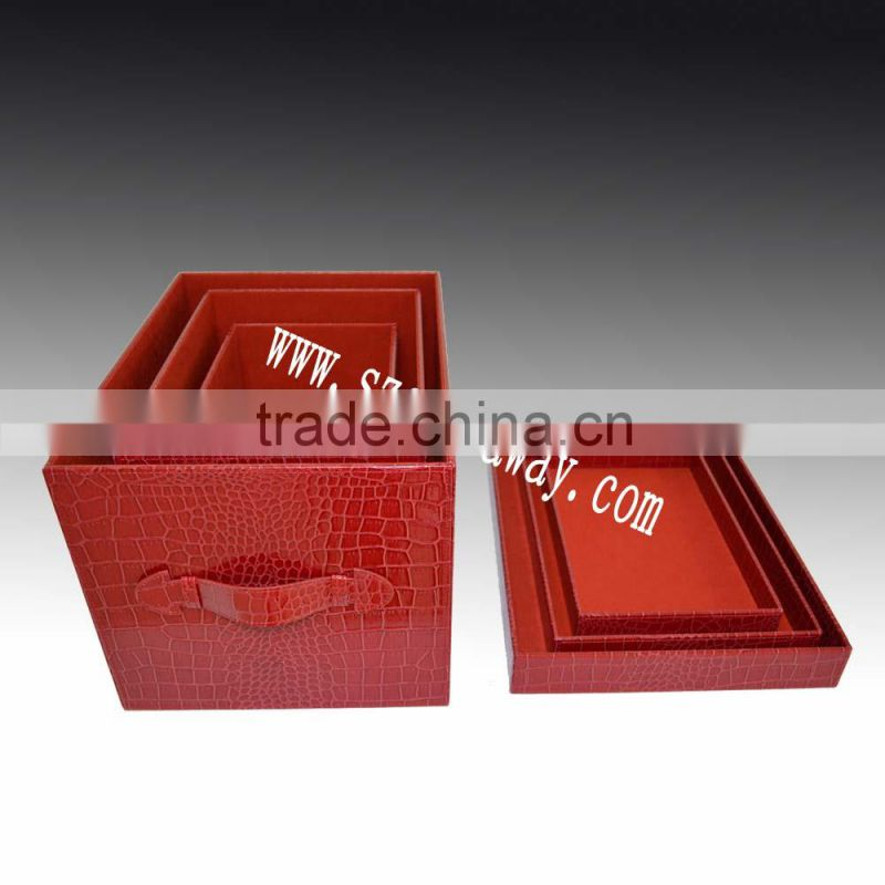 ... office and home use faux lether covered leather look storage box organizerred crocodile CD ...  sc 1 st  find quality and cheap products on China.cn & office and home use faux lether covered leather look storage box ...