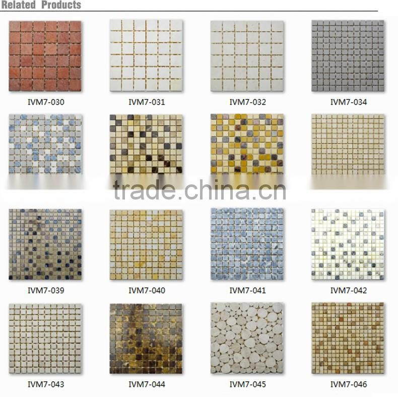 IMARK Light Coffee Color Marble Stone Mosaic Tile With Polished Surface Backsplah Tille Code IVM7-048