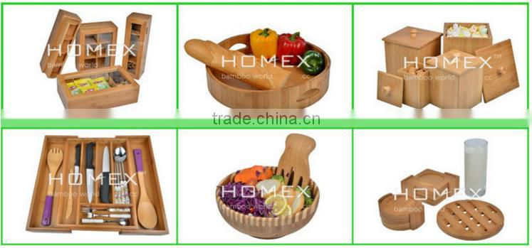 Bamboo wine bottle & glass caddy Homex-BSCI Factory