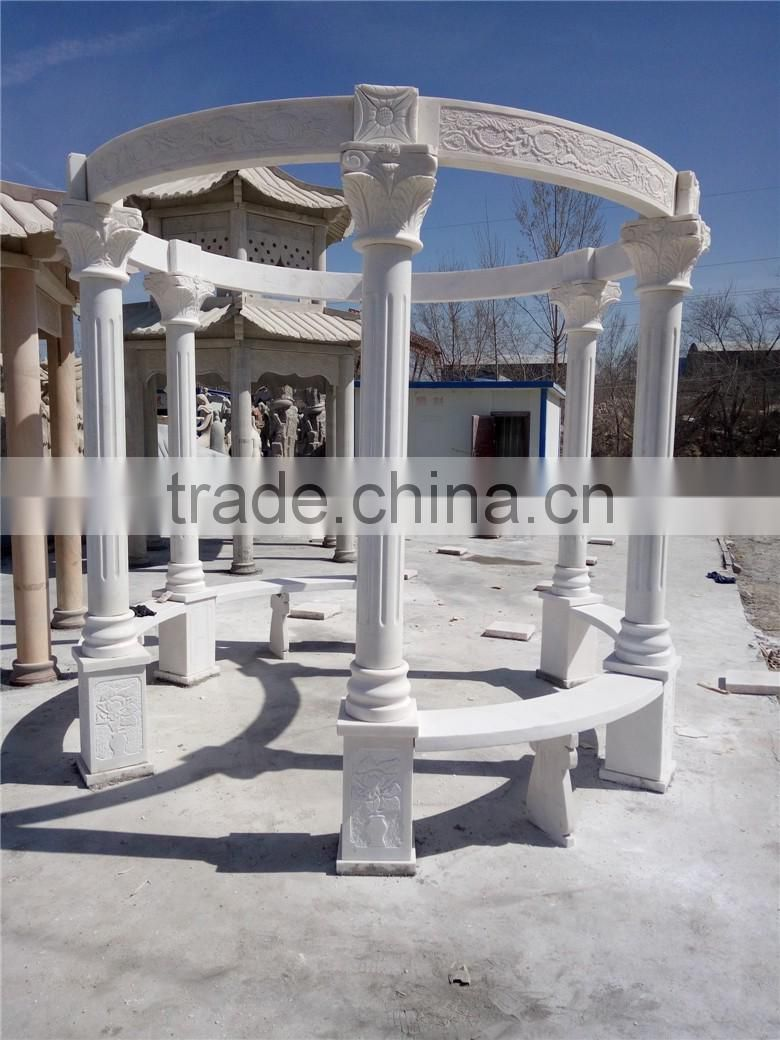 cheap hand carved outdoor white marble stone gazebo prices NTMG-281S
