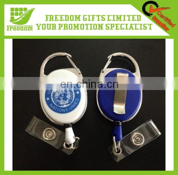 Unique Design Cable Pull Reel Key Chain With Customized Logo Printed