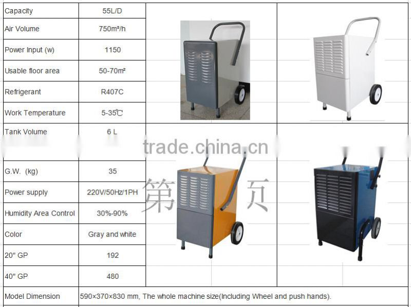 55L/D desiccant dehumidifier with wheel