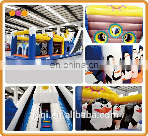 AOQI long inflatable obstacle course blue inflatable obstacle toy obstacle race inflatable for kid