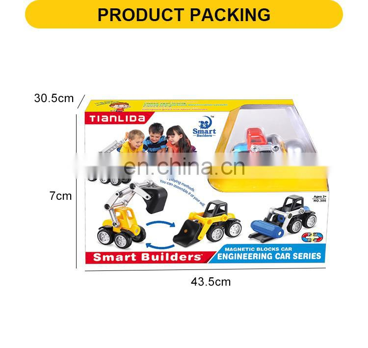 educational magnet project children building block toys kids car