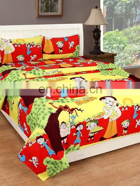 100% Cotton Set Of 3 Pcs Double Bed Sheet With 2 Pillow Cover